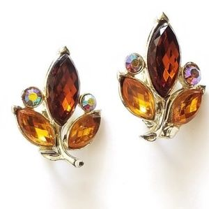 1950s Rhinestone Vintage Clip Earrings